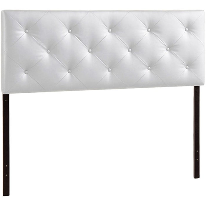Baxton Studio Baltimore Modern and Contemporary King White Faux Leather Upholstered Headboard Baxton Studio-Headboards-Minimal And Modern - 1