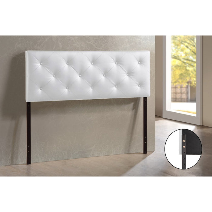 Baxton Studio Baltimore Modern and Contemporary Full White Faux Leather Upholstered Headboard Baxton Studio-Headboards-Minimal And Modern - 1
