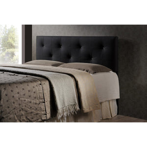 Baxton Studio Dalini Modern and Contemporary Full Black Faux Leather Headboard with Faux Crystal Buttons Baxton Studio-Headboards-Minimal And Modern - 1