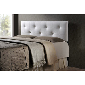 Baxton Studio Dalini Modern and Contemporary Queen White Faux Leather Headboard with Faux Crystal Buttons Baxton Studio-Headboards-Minimal And Modern - 1