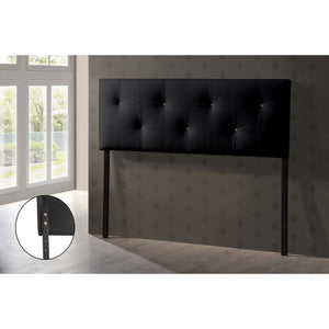 Baxton Studio Dalini Modern and Contemporary Full Black Faux Leather Headboard with Faux Crystal Buttons Baxton Studio-Headboards-Minimal And Modern - 2