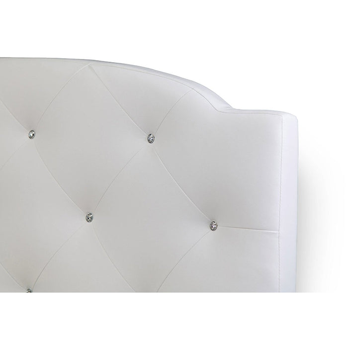 Baxton Studio Canterbury White Leather Contemporary Queen-Size Bed Baxton Studio-Queen Headboard-Minimal And Modern - 1