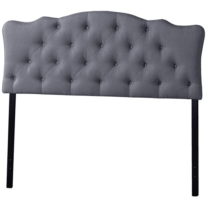 Baxton Studio Rita Modern and Contemporary Full Size Grey Fabric Upholstered Button-tufted Scalloped Headboard Baxton Studio-Headboards-Minimal And Modern - 1