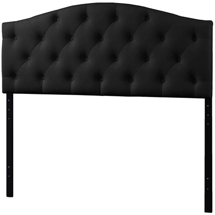 Baxton Studio Myra Modern and Contemporary Full Size Black Faux Leather Upholstered Button-tufted Scalloped Headboard Baxton Studio-Headboards-Minimal And Modern - 1