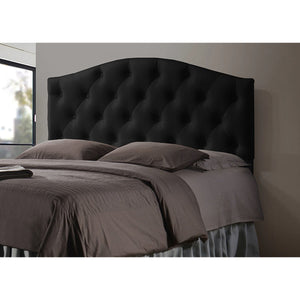 Baxton Studio Myra Modern and Contemporary Full Size Black Faux Leather Upholstered Button-tufted Scalloped Headboard Baxton Studio-Headboards-Minimal And Modern - 2