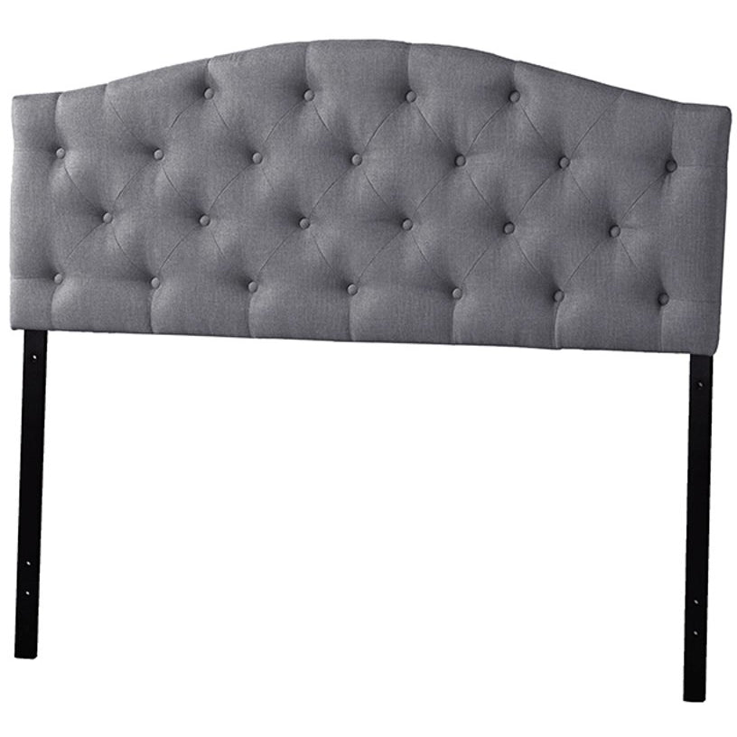 Baxton Studio Myra Modern and Contemporary Full Size Grey Fabric Upholstered Button-tufted Scalloped Headboard Baxton Studio-Headboards-Minimal And Modern - 1