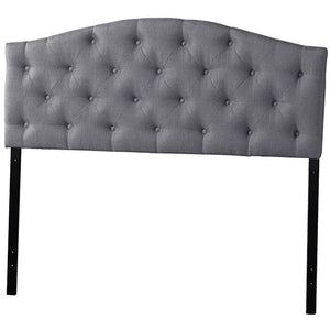 Baxton Studio Myra Modern and Contemporary Queen Size Grey Fabric Upholstered Button-tufted Scalloped Headboard Baxton Studio-Headboards-Minimal And Modern - 1