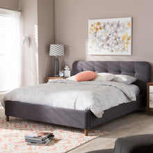 Baxton Studio Germaine Mid-Century Modern Dark Grey Fabric King Size Grid-Tufting Platform Bed Baxton Studio-King Bed-Minimal And Modern - 1