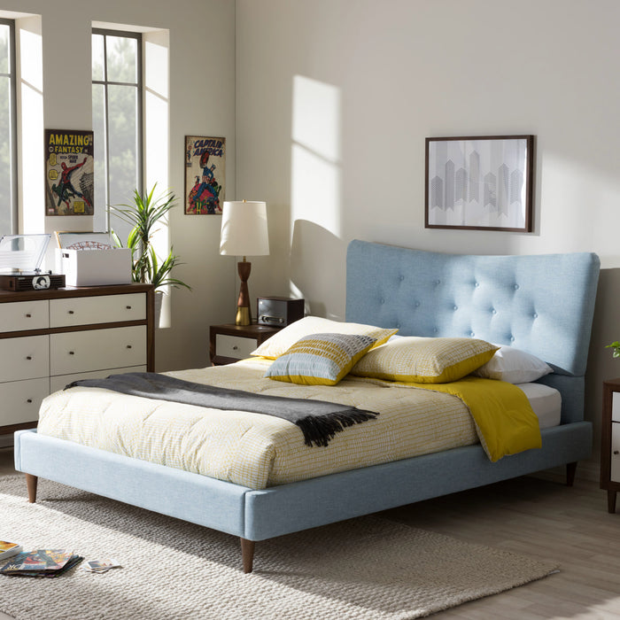 Baxton Studio Hannah Mid-Century Modern Sky Blue Fabric Queen Size Platform Bed Baxton Studio-Queen Bed-Minimal And Modern - 1