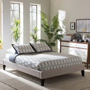 Baxton Studio Lancashire Modern and Contemporary Beige Linen Fabric Upholstered Full Size Bed Frame with Tapered Legs  Baxton Studio-Full Bed-Minimal And Modern - 1