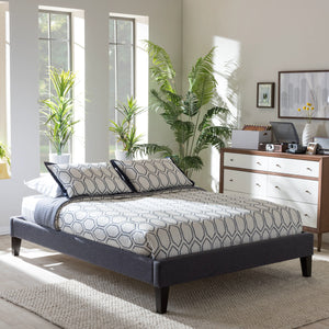 Baxton Studio Lancashire Modern and Contemporary Grey Fabric Upholstered Full Size Bed Frame with Tapered Legs  Baxton Studio-Full Bed-Minimal And Modern - 1