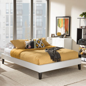 Baxton Studio Lancashire Modern and Contemporary White Faux Leather Upholstered Full Size Bed Frame with Tapered Legs  Baxton Studio-Full Bed-Minimal And Modern - 1