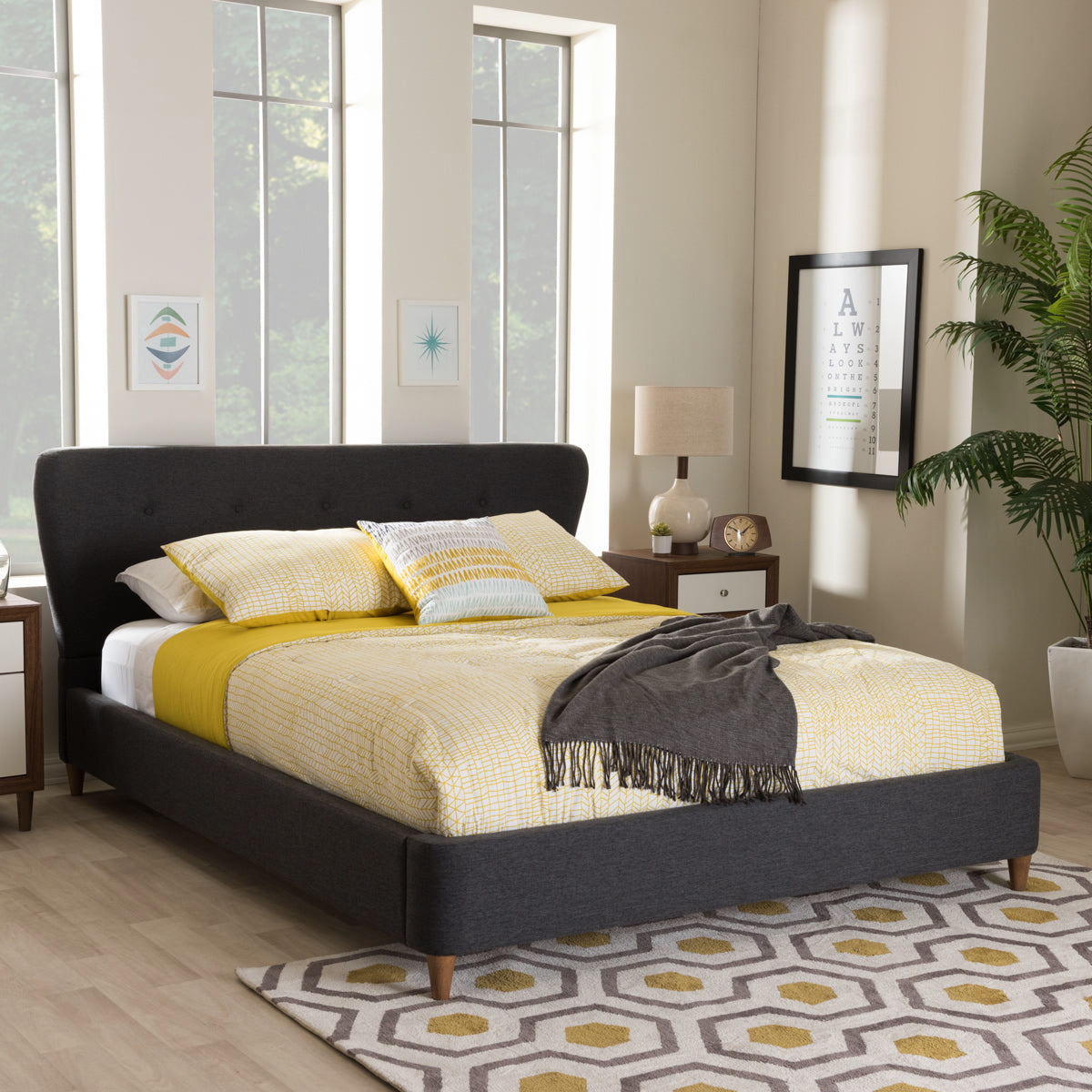 Baxton Studio Camden Mid-Century Modern Dark Grey Fabric Upholstered King Size Platform Bed Baxton Studio-King Bed-Minimal And Modern - 1
