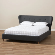 Baxton Studio Camden Mid-Century Modern Dark Grey Fabric Upholstered King Size Platform Bed Baxton Studio-King Bed-Minimal And Modern - 7