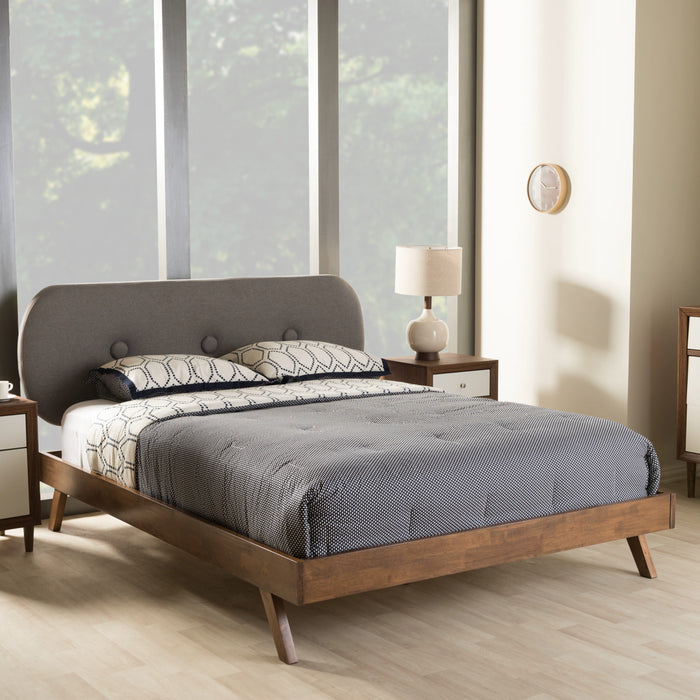 Baxton Studio Penelope Mid-Century Modern Solid Walnut Wood Grey Fabric Upholstered Full Size Platform Bed Baxton Studio-Full Bed-Minimal And Modern - 1