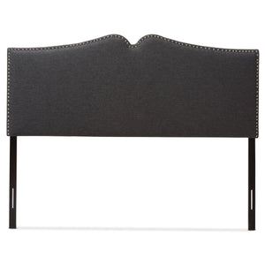 Baxton Studio Gracie Modern and Contemporary Dark Grey Fabric Upholstered King Size Headboard with Nail Heads Trim Baxton Studio-King Headboard-Minimal And Modern - 3
