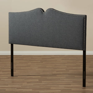 Baxton Studio Gracie Modern and Contemporary Dark Grey Fabric Upholstered King Size Headboard with Nail Heads Trim Baxton Studio-King Headboard-Minimal And Modern - 5