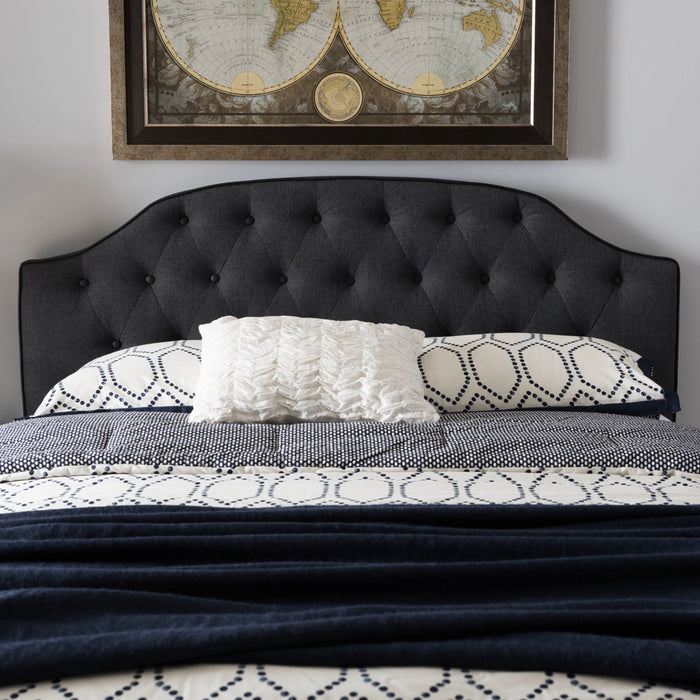 Baxton Studio Windsor Modern and Contemporary Dark Grey Fabric Upholstered Scalloped Buttoned King Size Headboard Baxton Studio-King Headboard-Minimal And Modern - 1