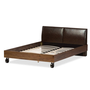 Baxton Studio Brooke Rustic Industrial Walnut Wood Distressed Faux Leather Dark Bronze Metal Full Size Platform Bed Baxton Studio-Full Bed-Minimal And Modern - 4
