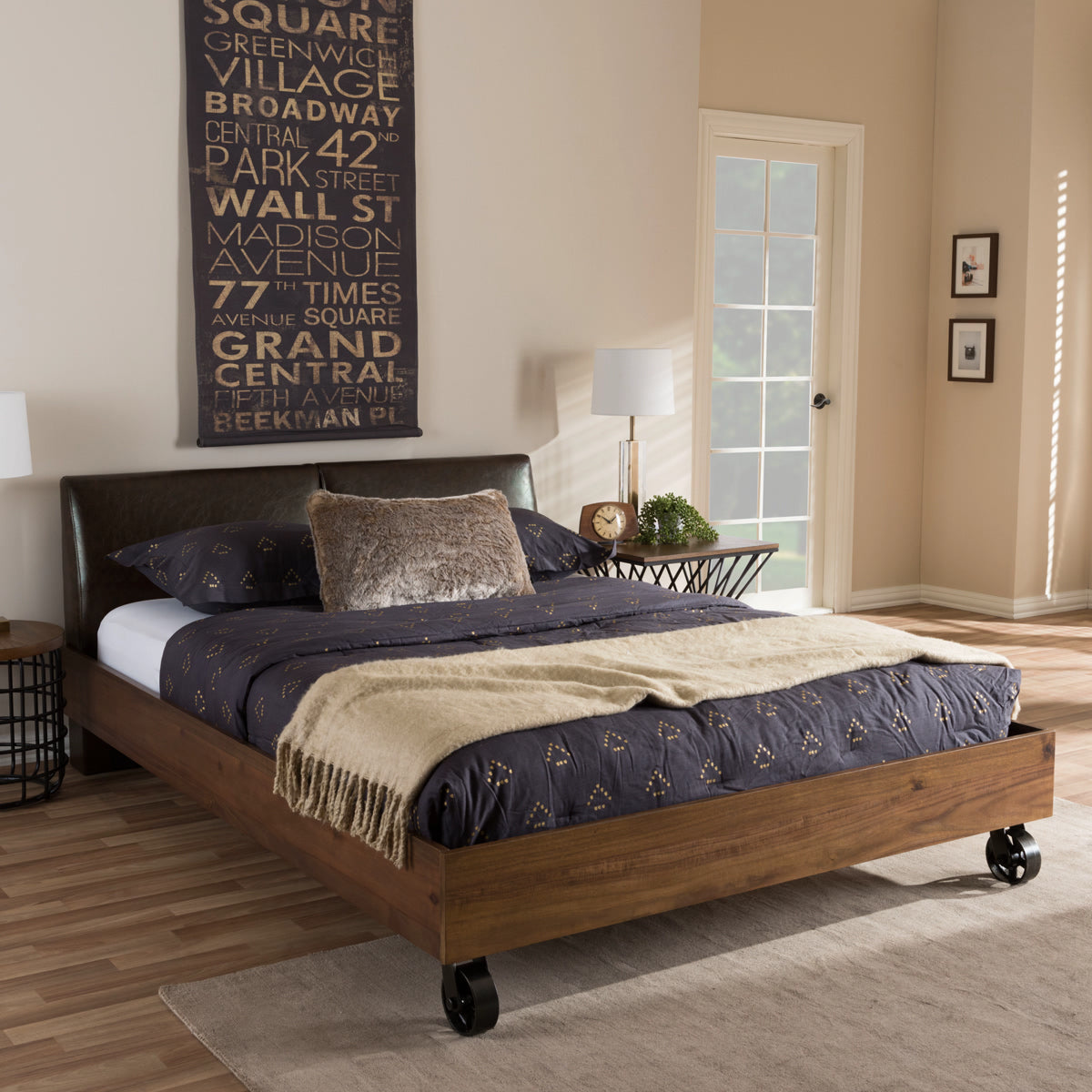 Baxton Studio Brooke Rustic Industrial Walnut Wood Distressed Faux Leather Dark Bronze Metal Full Size Platform Bed Baxton Studio-Full Bed-Minimal And Modern - 1