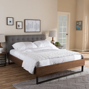 Baxton Studio Mitchell Rustic Industrial Walnut Wood Grey Fabric Dark Bronze Metal Full Size Platform Bed Baxton Studio-Full Bed-Minimal And Modern - 1
