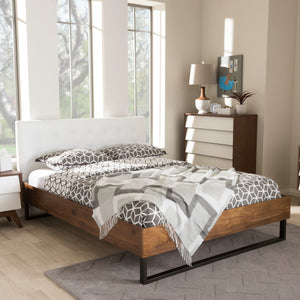 Baxton Studio Mitchell Rustic Industrial Walnut Wood White Faux Leather Dark Bronze Metal Queen Size Platform Bed Baxton Studio-Queen Bed-Minimal And Modern - 1