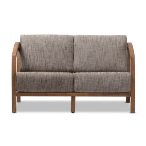 Baxton Studio Velda Modern and Contemporary Walnut Brown Wood and Gravel Multi Color Fabric 3-Piece Living Room Sofa, Loveseat and Lounge Chair Set Baxton Studio--Minimal And Modern - 4