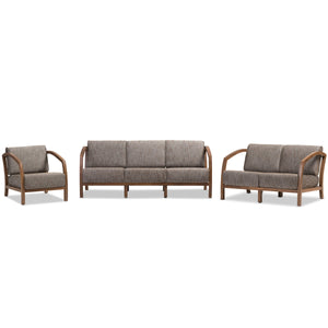 Baxton Studio Velda Modern and Contemporary Walnut Brown Wood and Gravel Multi Color Fabric 3-Piece Living Room Sofa, Loveseat and Lounge Chair Set Baxton Studio--Minimal And Modern - 2