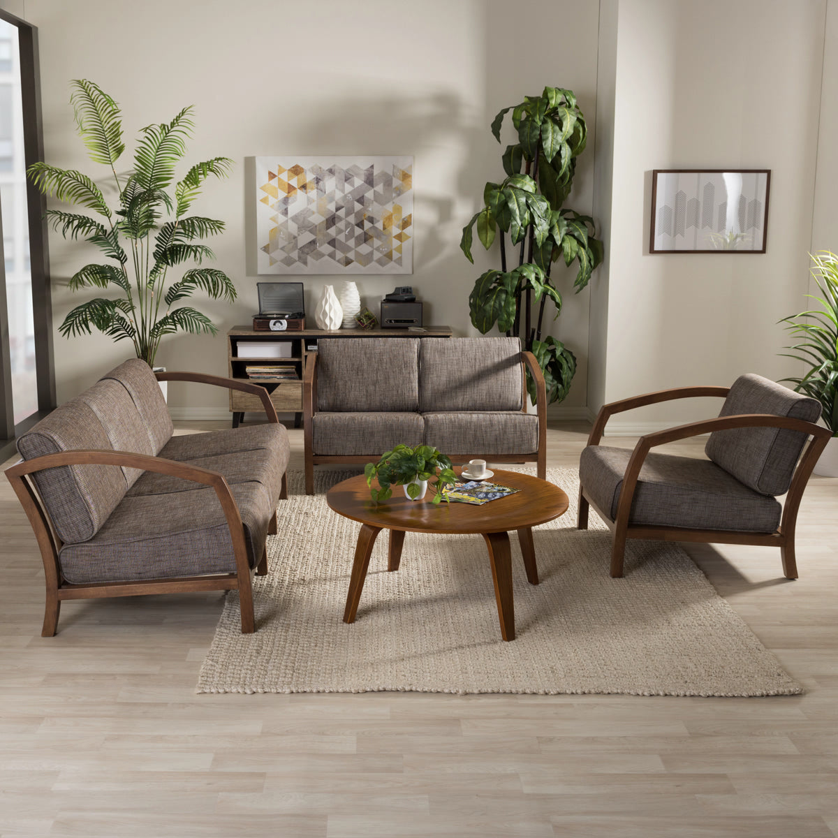 Baxton Studio Velda Modern and Contemporary Walnut Brown Wood and Gravel Multi Color Fabric 3-Piece Living Room Sofa, Loveseat and Lounge Chair Set Baxton Studio--Minimal And Modern - 1