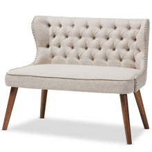 Baxton Studio Scarlett Mid-Century Modern Brown Wood and Light Beige Fabric Upholstered Button-Tufting with Nail Heads Trim 2-Seater Loveseat Settee Baxton Studio-sofas-Minimal And Modern - 2