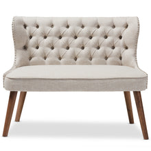 Baxton Studio Scarlett Mid-Century Modern Brown Wood and Light Beige Fabric Upholstered Button-Tufting with Nail Heads Trim 2-Seater Loveseat Settee Baxton Studio-sofas-Minimal And Modern - 3