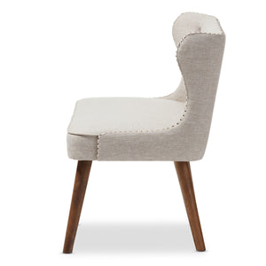 Baxton Studio Scarlett Mid-Century Modern Brown Wood and Light Beige Fabric Upholstered Button-Tufting with Nail Heads Trim 2-Seater Loveseat Settee Baxton Studio-sofas-Minimal And Modern - 4