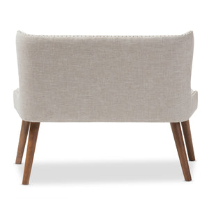 Baxton Studio Scarlett Mid-Century Modern Brown Wood and Light Beige Fabric Upholstered Button-Tufting with Nail Heads Trim 2-Seater Loveseat Settee Baxton Studio-sofas-Minimal And Modern - 5