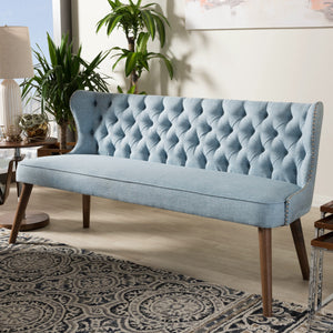 Baxton Studio Scarlett Mid-Century Modern Brown Wood and Light Blue Fabric Upholstered Button-Tufting with Nail Heads Trim 3-Seater Sofa Baxton Studio-sofas-Minimal And Modern - 1