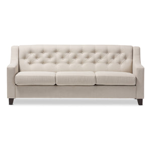Baxton Studio Arcadia Modern and Contemporary Light Beige Fabric Upholstered Button-Tufted Living Room 3-Seater Sofa Baxton Studio-sofas-Minimal And Modern - 3