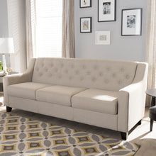 Baxton Studio Arcadia Modern and Contemporary Light Beige Fabric Upholstered Button-Tufted Living Room 3-Seater Sofa Baxton Studio-sofas-Minimal And Modern - 1