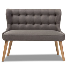 Baxton Studio Melody Mid-Century Modern Grey Fabric and Natural Wood Finishing 2-Seater Settee Bench Baxton Studio-sofas-Minimal And Modern - 3