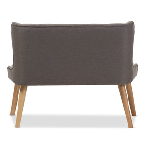 Baxton Studio Melody Mid-Century Modern Grey Fabric and Natural Wood Finishing 2-Seater Settee Bench Baxton Studio-sofas-Minimal And Modern - 5