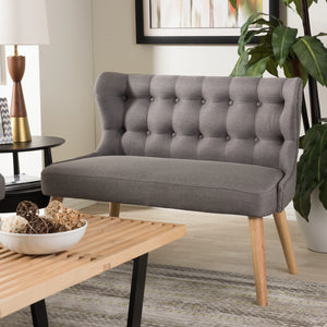 Baxton Studio Melody Mid-Century Modern Grey Fabric and Natural Wood Finishing 2-Seater Settee Bench Baxton Studio-sofas-Minimal And Modern - 1