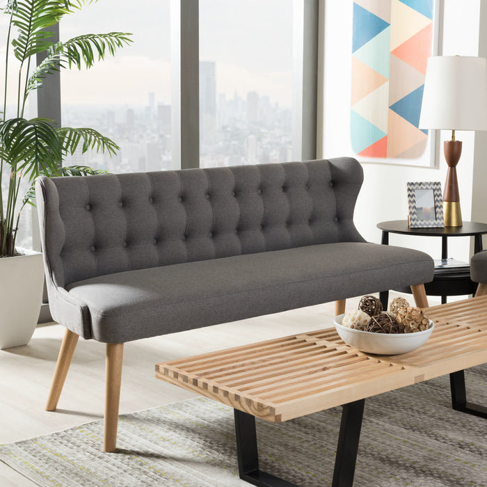Baxton Studio Melody Mid-Century Modern Grey Fabric and Natural Wood Finishing 3-Seater Settee Bench Baxton Studio-sofas-Minimal And Modern - 1