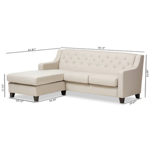 Baxton Studio Arcadia Light Beige Fabric Upholstered Button-Tufted 2-Piece Sectional Sofa Baxton Studio-sectionals-Minimal And Modern - 8