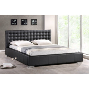 Baxton Studio Madison Black Modern Bed with Upholstered Headboard - Full Size Baxton Studio-beds-Minimal And Modern - 1