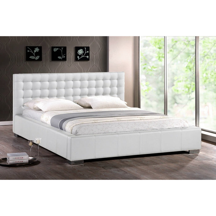 Baxton Studio Madison White Modern Bed with Upholstered Headboard (King Size) Baxton Studio-beds-Minimal And Modern - 1
