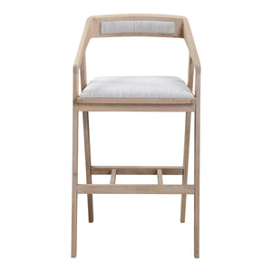 Moe's Home Collection Padma Oak Barstool Light Grey - BC-1090-29 - Moe's Home Collection - Bar Stool - Minimal And Modern - 1