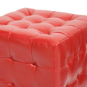 Baxton Studio Siskal Red Modern Cube Ottoman (Set of 2) Baxton Studio-ottomans-Minimal And Modern - 2