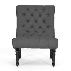 Baxton Studio Caelie Gray Linen Modern Lounge Chair Baxton Studio-chairs-Minimal And Modern - 2