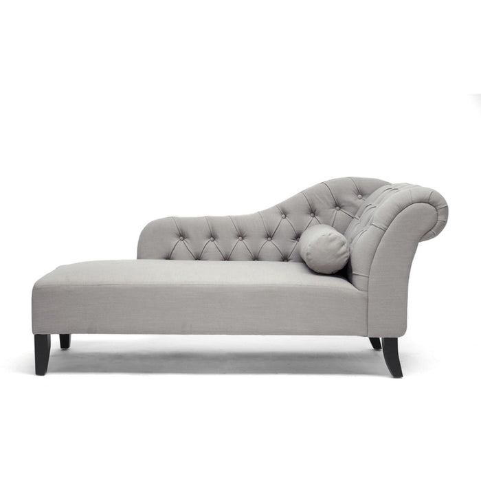 Baxton Studio Aphrodite Tufted Putty Gray Linen Modern Chaise Lounge Baxton Studio-chairs-Minimal And Modern - 1
