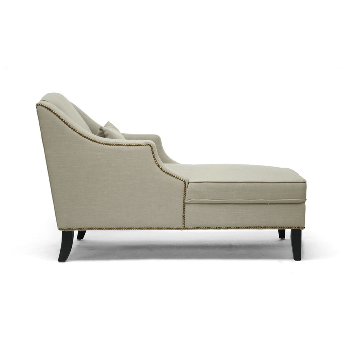 Baxton Studio Asteria Putty Gray Linen Modern Chaise Lounge Baxton Studio-chairs-Minimal And Modern - 1