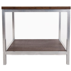 Bamboogle Rustic Grey Rectangle Side Table With Silver Legs BKL-30-S-2420-G-Minimal & Modern