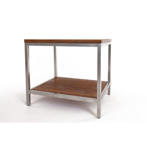 Bamboogle Koa Rectangle Side Table With Silver Legs BKL-30-S-2420-K-Minimal & Modern